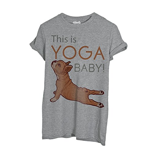 MUSH T-Shirt French Bulldog Lovers Yoga - Social by Dress Your Style - Donna-M-Grigio