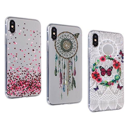 2 PCS iPhone X Slim Case 5.8 Zoll, iPhone 10 Slim Case, iPhone X Backcase, Moon mood® Geprägte Relief Gemalte TPU Silikon Handyhülle Schutzhülle Case für iPhone X / iPhone 10 5.8 Zoll Thin Dünn Weich  3 PCS 3