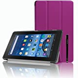 Amazon Fire 7 2015 Case, ultra-thin Smart stand Case Cover With Stylus For Amazon Fire 7' Display (5th Generation - 2015 release) (Purple)