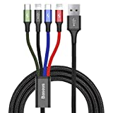 Baseus Multi Chargeur USB câble de données IP Micro USB de Type C 3In1charging câble 3A Chargement Rapide Câbles de données