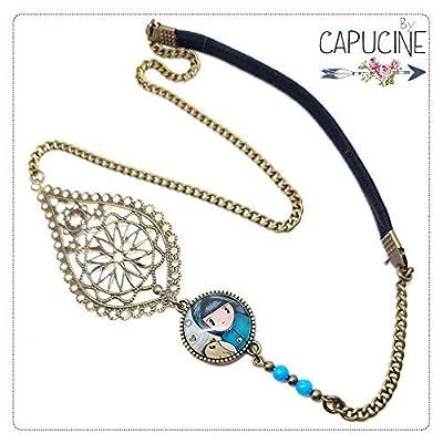 Headband avec Cabochon Verre Fillette et Oiseau, Bleu et Beige, Estampe et Chaîne Bronze, Accessoire Cheveux avec Élastique