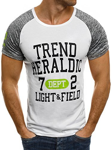 OZONEE Herren T-Shirt mit Motiv Kurzarm Rundhals Figurbetont J.STYLE SS004 Weiß