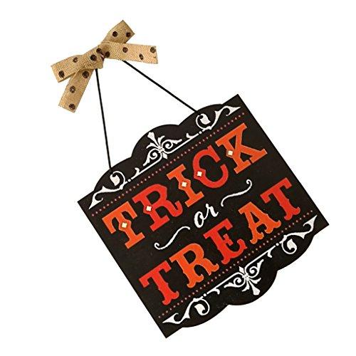 D DOLITY Witziger Holz Schild Plakette Hängende Dekoration mit Schleife Design, für Halloween auf Wand Tür Fenster und Garten