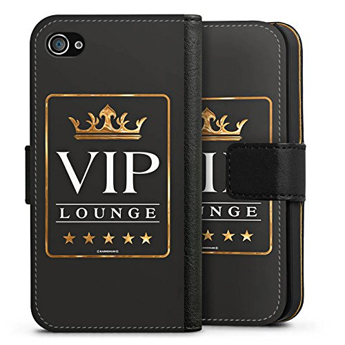 Apple iPhone X Silikon Hülle Case Schutzhülle VIP Lounge V.I.P Luxus Sideflip Tasche schwarz