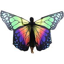 Wgwioo rendimiento profesional adulto mariposa del arco iris grande danza del vientre ángel ánix alas 360 grados traje exótico completo flexible con los palillos escalables , 2# , adult