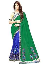 G Stuff Fashion Women Georgette saree With Blouse Piece_saree_Green_Blue_saree