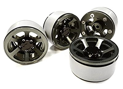 Integy RC Hobby C26132GUN 1.9 Size Billet Machined Alloy 6 Spoke Wheel(4) High Mass Type for Scale Crawler