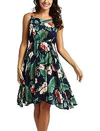 9d2f6a3479e feuilles robes GreatestPAK femmes dames impression Sans manches Mini Robe  Summer Beach Jupe