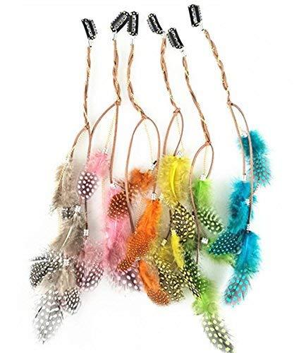 Fodattm - 6 extensiones pelo bohemio clip pluma, niñas