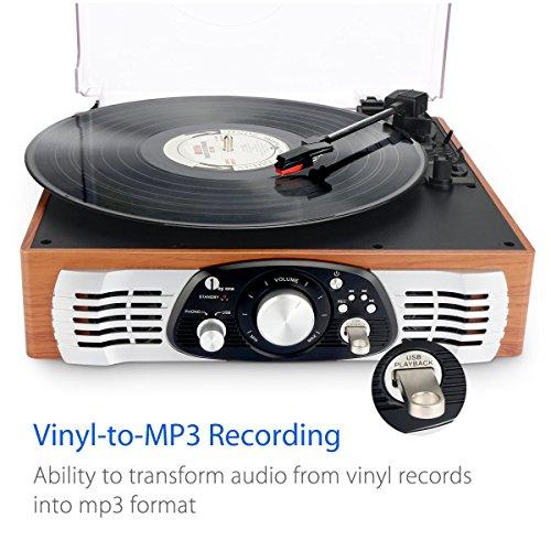 1byone tocadiscos estéreo de 3 velocidades con altavoces incorporados, graba de vinilo a MP3, reproduce MP3, salida RCA, madera natural.