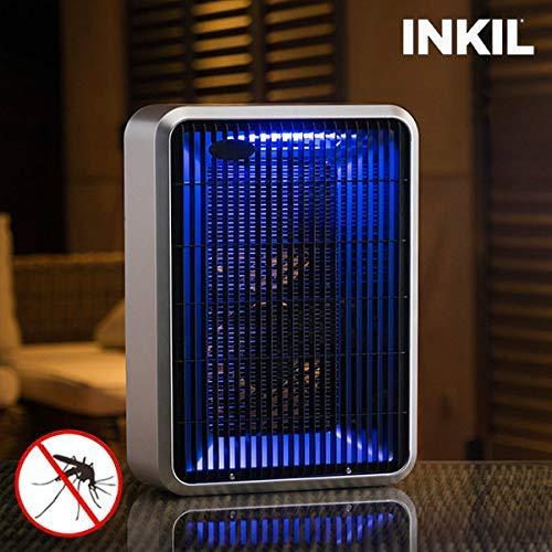 Inkil Lámpara antimosquitos eléctrica, luz uva, fulmina insectos, sin sustancias químicas, 28 m² (rectangular, 8 W, 220 V) color gris