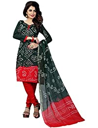 Taboody Empire Tangerine Black Satin Cotton Handi Crafts Bandhani Work With Straight Salwar Suit For Girls And...