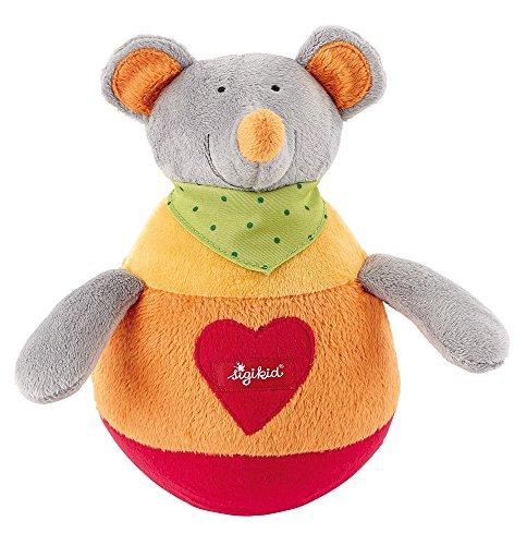 sigikid, Mädchen und Jungen, Stehauf-Spielfigur Maus, Orange/Rot, 49335