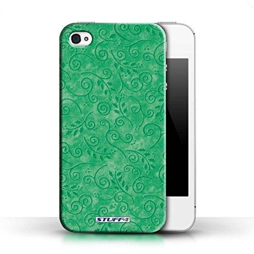 KOBALT® Hülle Case für Apple iPhone 4/4S | Türkis Entwurf | Blatt-Strudel-Muster Kollektion Grün