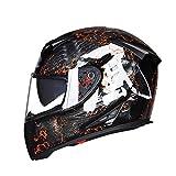 LL Doppel-Visor Full Face Motorrad-Helm Motorrad Full Helm Outdoor Männer und Frauen,2,XL