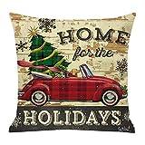 Fenverk Weihnachten Kissenbezug Merry Christmas bettwäsche deko Kissenbezug Elch Weihnachtsmann Glocke Elf Rentier Rudolph Weihnachtsmann Sofa kissenhuelle 45x45cm(E)
