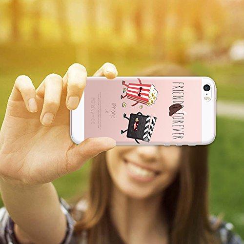 iPhone SE iPhone 5 5S Hülle, WoowCase® [ Hybrid ] Handyhülle PC + Silikon für [ iPhone SE iPhone 5 5S ] Wolf-Fußabdruck Sammlung Tierentwürfe Handytasche Handy Cover Case Schutzhülle - Transparent Hybrid Hülle iPhone SE iPhone 5 5S D0223