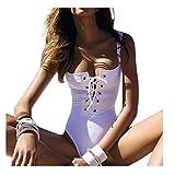 Costumi da bagno delle donne Koly_Donne Costume intero bagno dello Swimwear spinge verso l'alto del bikini (bianca, S)
