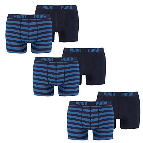 PUMA Herren Striped 1515 Boxer Boxershort Unterhose 6er Pack blue 056 - XL - Blue Cotton Boxer