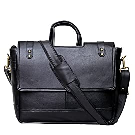 KGNExportsHouse , 15 Inch Shoulder Leather Satchel Bag Men Women – Messenger Black