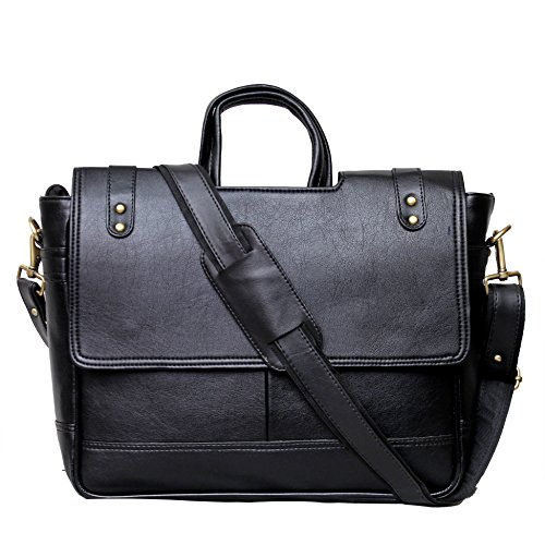 - 517riKKseDL - KGNExportsHouse , 15 Inch Shoulder Leather Satchel Bag Men Women – Messenger Black  - 517riKKseDL - Deal Bags