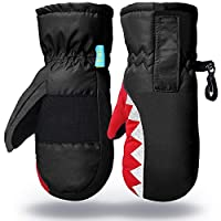 7-Mi Kids Winter Warm Water-Resistant Gloves for Skiing/Snowboarding/Cycling/Riding Outdoor Activities Children Mittens for 2T-5T Black