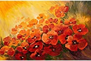 Pitaara Box Poppies On A Red Yellow Background Canvas Painting MDF Frame 18.1 X 12Inch
