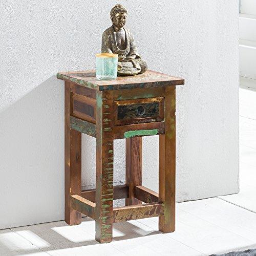 FineBuy Beistelltisch KALKUTTA 30 x 30 x 50 cm   Massivholz Nachtkonsole mit Schublade   Nachttisch Schlafzimmer aus Massiv Holz   Nachtkonsole - Anstelltisch Shabby-Chic