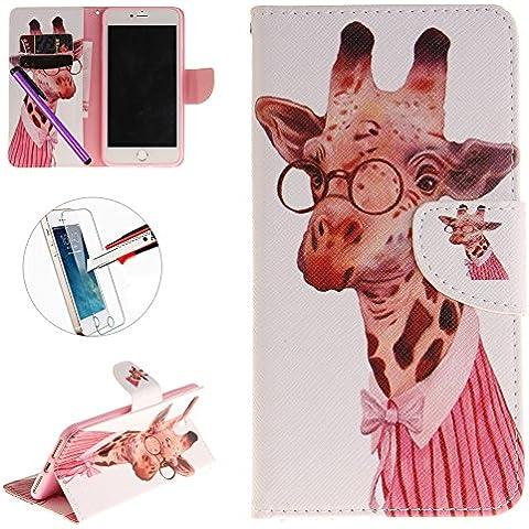 iPhone 7+ Funda, iPhone 7Plus Premium funda de piel sintética, 'pintura [función atril] [tarjeta ranuras/Cash] tipo cartera funda Flip Cover funda de piel a prueba de golpes caso para iPhone 7Plus (5,5pulgadas) (2016) + 1protector de pantalla + 1piezas lápiz capacitivo lápiz táctil., color B-Giraffe glasses