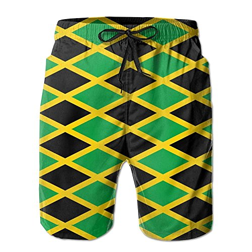 Funny&shirt Jamaica Jamaican Flag Caribbean Men's Beach Shorts Printed Quick Dry Board Shorts X-Large