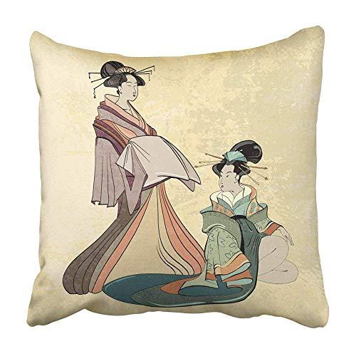 Cojines Decorativos Fundas de Almohadas Geisha Tradicional Antigua Japón Clásico japonés Mujer Estilo...