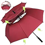 ZOMAKE Automatic Golf Umbrella Windproof, Large Stick Umbrella with 62 Inch Oversized Double Canopy Vented, Sun Protection for Men Women (Dark Red)