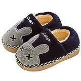SITAILE Jungen Mädchen Winter Pantoffeln Slippers Schuhe mit Plüsch gefüttert Wärme Weiche Rutschfeste Hausschuhe Für Kinder Baby 02-blau 26-27