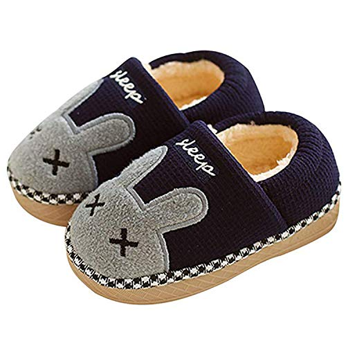 SITAILE Jungen Mädchen Winter Pantoffeln Slippers Schuhe mit Plüsch gefüttert Wärme Weiche Rutschfeste Hausschuhe Für Kinder Baby 02-blau 31-32