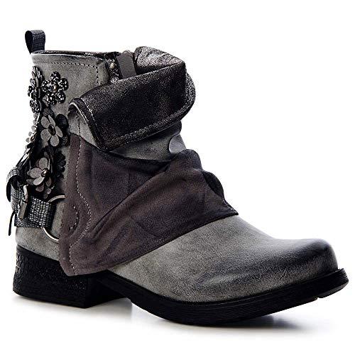 topschuhe24 1476 Damen Stiefeletten Worker Biker Boots Blume, Farbe:Grau, Größe:38 EU