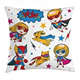 Superhero Throw Pillow Cushion Cover, Super Cat Puppy with Power Legendary Comic Strips Nursery Style Playroom Image, Decorative Square Accent Pillow Case, 24 X 24 inches, Multicolor
