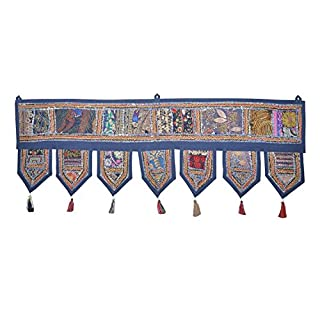 Ethnic Indian Home Decorative Patchwork & Embroidery Work Door Hanging Throw Tapestry, 39 X 13 Inches (Blue) by Rajasthali