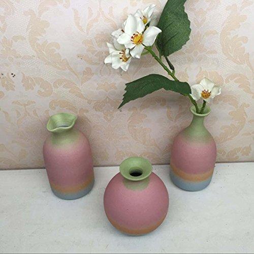 Handgemachte kreative Boutique Keramik Vase Wohnzimmer Schlafzimmer Studie Ornamente Keramik Blumen Arrangement Ideal Geschenk 2 Sets , a set of 3 (Gestickt Rugby)