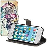 kwmobile Hülle für Apple iPhone SE / 5 / 5S - Wallet Case Handy Schutzhülle Kunstleder - Handycover Klapphülle mit Kartenfach und Ständer Traumfänger Kleckse Design Mehrfarbig Blau Weiß