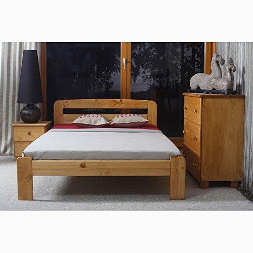 JUSThome Sara Cama de madera maciza + Listones Color Aliso Tamaño 120 x 200 cm