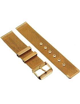 22mm Herren Damen Gold Edelstahl Uhren-Armband Uhrenarmbänder Uhrband Watch Band Watch Strap Uhr Unisex mit Edelstahlschliesse...