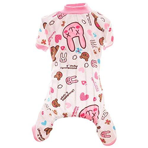 iere Hund Kleidung Tragen, Liebenswürdig, Shirt Puppy Sleep Pyjama Bekleidung Hund Jumpsuit Kleidung Liebenswürdig, Pet Shirt Weiche Baumwolle Hunde Shirts (Baby Rosa Pudel Kostüme)