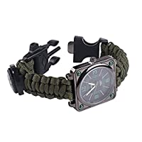 UltraGood Outdoors Survival Multifunction Bracelet Watch, Survival Kit Bracelet,Rope+Whistle + Compass + Fire Starter, for Hiking Rock Climbing Camping First Aid Kit (Army Green)