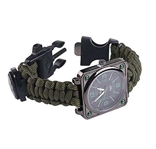UltraGood-Outdoors-Survival-Multifunction-Bracelet-Watch-Survival-Kit-BraceletRopeWhistle-Compass-Fire-Starter-for-Hiking-Rock-Climbing-Camping-First-Aid-Kit-Army-Green