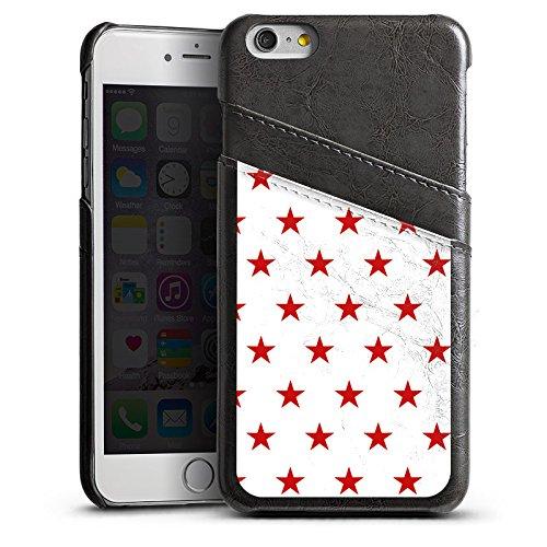 Apple iPhone 5s Housse Étui Protection Coque Étoile Rouge blanc Motif Étui en cuir gris