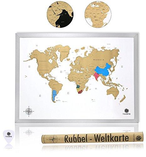 havalime® Premium XXL Rubbel Weltkarte - Scratch World Map - Limited Edition - Geschenkidee für Reisende - 82x59 cm - (Weiß) (Geschenkideen)