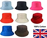 L&L® 100% Cotton Adults Bucket Hat Summer Fishing Fisher Beach Festival Sun Cap UK