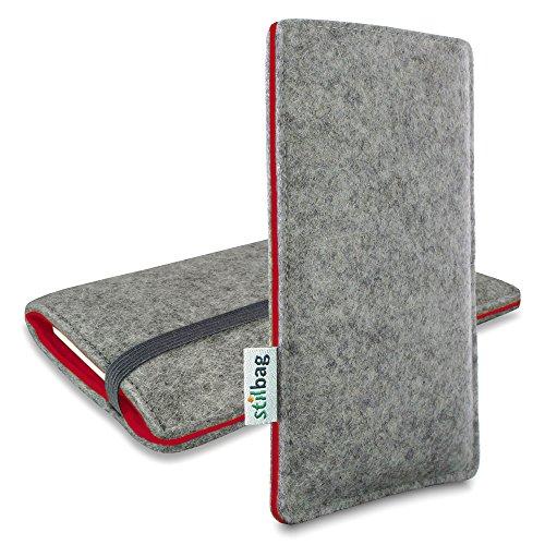 Stilbag Filztasche 'FINN' für Apple iPhone 7 plus - Farbe: hellgrau/violett hellgrau/rot