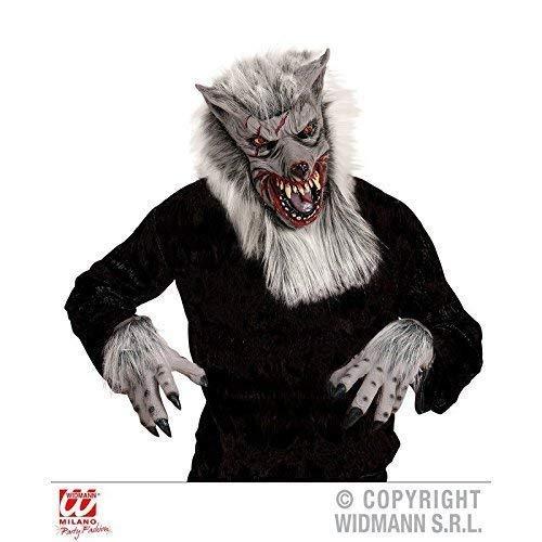 Lively Moments Wolfsmaske / Latexmaske / Werwolf mit Passenden, haarigen Handschuhen / Wolfshandschuhen für Halloweenkostüm (Werwolf Grau Handschuhe)