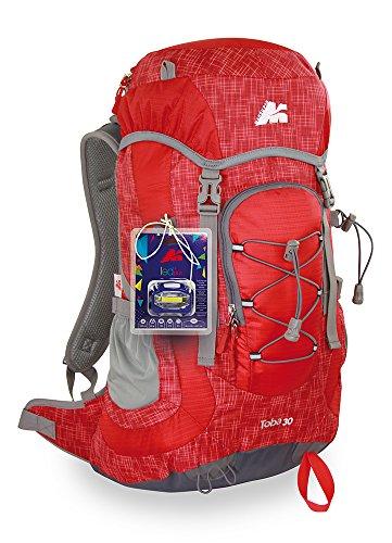 Marsupio TOBA 30 L Sac à Dos de Trekking (30 litres Camping Voyage Randonnée Sifflet Housse Pluie + LED Plus Lampe Frontale avec Piles Bouton), Farbe:Red Groesse:30 L